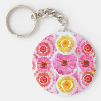 ZINNIA Flower Collage -  Artistic Transformations Basic Round Button Key Ring