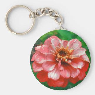 Zinnia Flower Painting Key Chain
