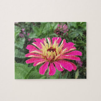 ZINNIA - Vibrant Pink and Cream - Jigsaw Puzzle