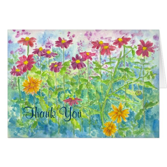 Zinnia Watercolor Thank You Note Card
