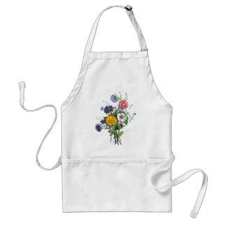 Zinnias, Hollyhocks & Sunflower Bouquet by Prevost Adult Apron