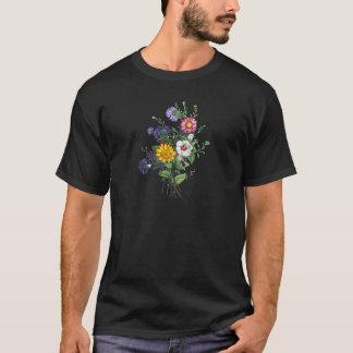 Zinnias, Hollyhocks & Sunflower Bouquet by Prevost T-Shirt