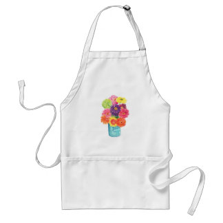 Zinnias in Blue Canning Jar Apron