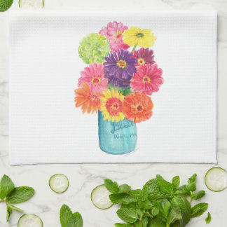 Zinnias in Blue Canning Jar Kitchen Towel