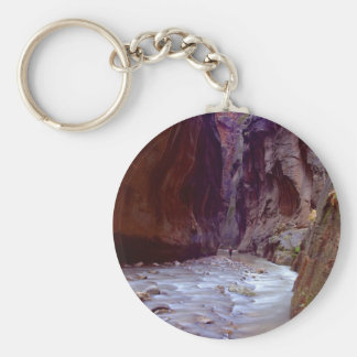Zion Narrows Hiking Through The River In Zion Narr Basic Round Button Key Ring