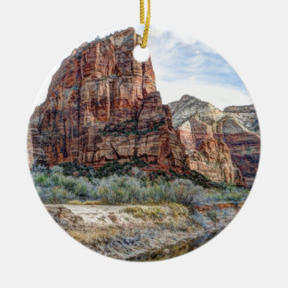 Zion National Park Angels Landing - Digital Paint Christmas Ornament