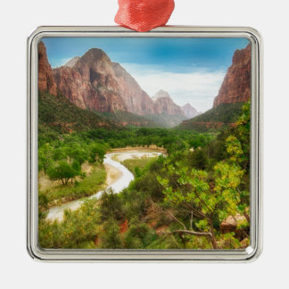 Zion National Park Silver-Colored Square Decoration
