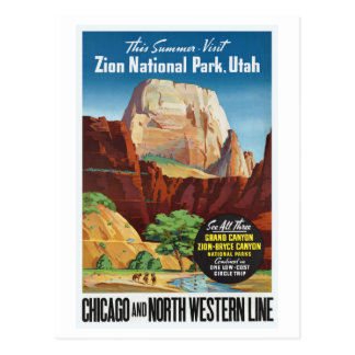Zion National Park,Utah America Travel Postcard