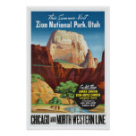 Zion National Park,Utah - Vintage Travel Poster