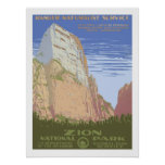 Zion National Park Vintage Travel Poster