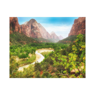 Zion Valley on A Bright Day Gallery Wrapped Canvas