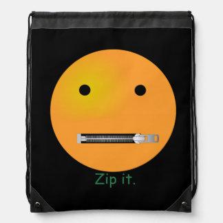Zip It Happy Face Smiley - Black Background Drawstring Bag