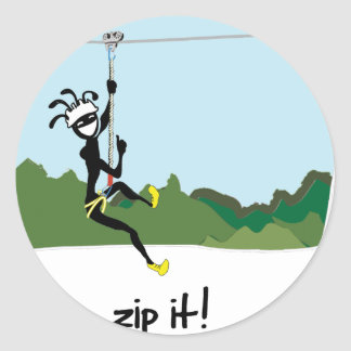 """Zip It!"" Round Sticker"