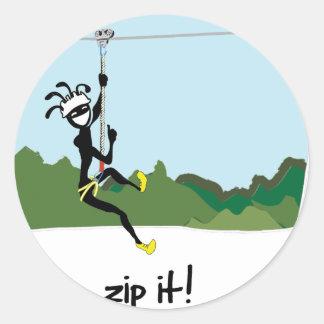 """""""Zip It!"""" Round Sticker"""