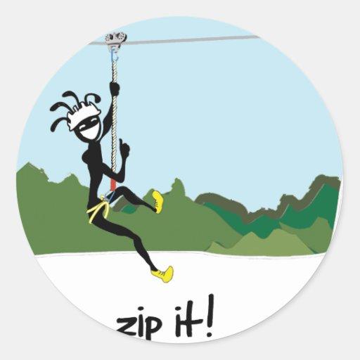 """""""Zip It!"""" Round Stickers"""