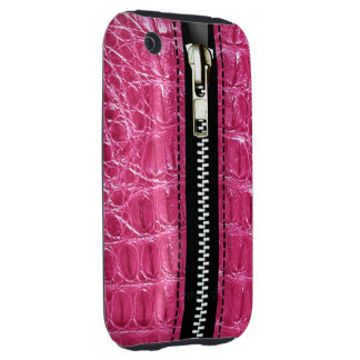 Zip It Up Alligator hard plastic (hot pink) Tough iPhone 3 Cases
