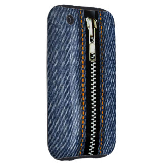 Zip It Up Surreal Blue Jeans hard plastic denim Tough iPhone 3 Case