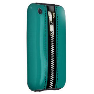 Zip It Up Surreal hard plastic (teal) Tough iPhone 3 Case