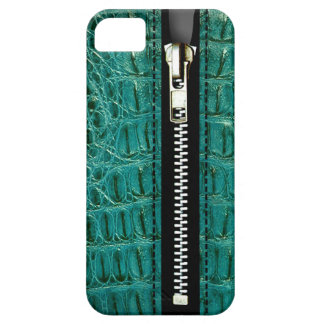 Zip It Up - Trompe L Oeil turquoise alligator iPhone 5 Cases