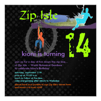 Zip Line Birthday Party/DIY text+colours Personalized Invitation