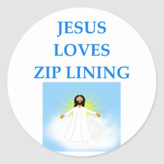 zip lining round sticker