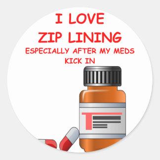 zip lining round sticker