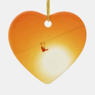 zipline ceramic heart decoration