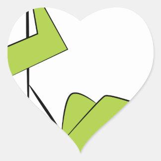 Zipline Rider Stick Figure Icon Heart Sticker