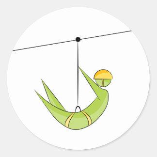 Zipline Rider Stick Figure Icon Round Sticker