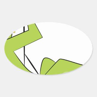 Zipline Rider Stick Figure Icon Oval Sticker