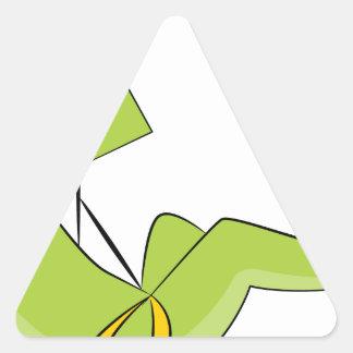 Zipline Rider Stick Figure Icon Triangle Sticker