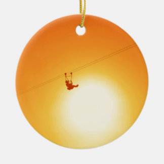 zipline round ceramic decoration