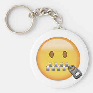 Zipper-Mouth Face Emoji Basic Round Button Key Ring