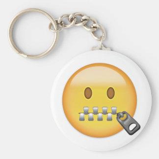 Zipper-Mouth Face Emoji Key Ring