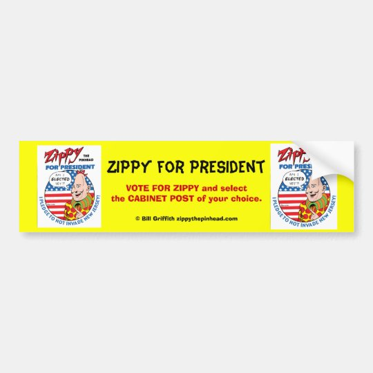 Zippy for President! Bumper Sticker