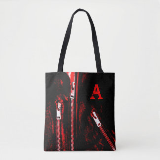 Zips Red print Monogram all over tote bag
