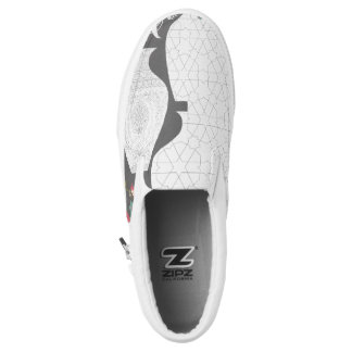 Zips slip on shoes featuring exquisite vases printed shoes