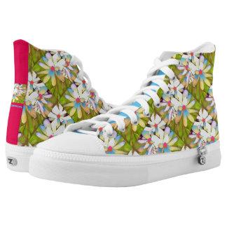 Zipz Hi Top Shoes Magnolia Flower Hi Contrast diag Printed Shoes