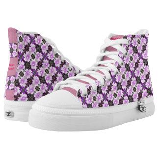 Zipz High Top Canvas Shoes Mauve Flower Fractal Printed Shoes