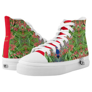 Zipz High Top Canvas Shoes Red Lily Flower Fractal Printed Shoes