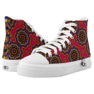 Zipz High Top shoe abstract rainbow mandala stripe Printed Shoes