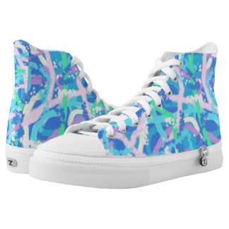 Zipz High Top Shoes Allover Underwater Design 2 Printed Shoes