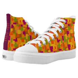 Zipz High Top Shoes - Autumn Patch Art Printed Shoes