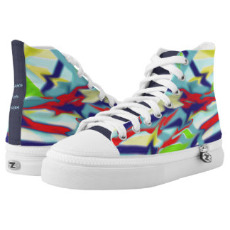 Zipz High Top Shoes Chaos into Form 1 Design Blue Printed Shoes