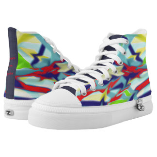 Zipz High Top Shoes Chaos into Form Design Blue Printed Shoes