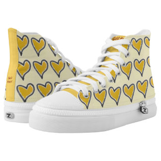 Zipz High Top Shoes Gold Hearts Design Printed Shoes