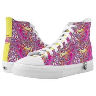 Zipz High Top Shoes Purple Yellow Marble Patch