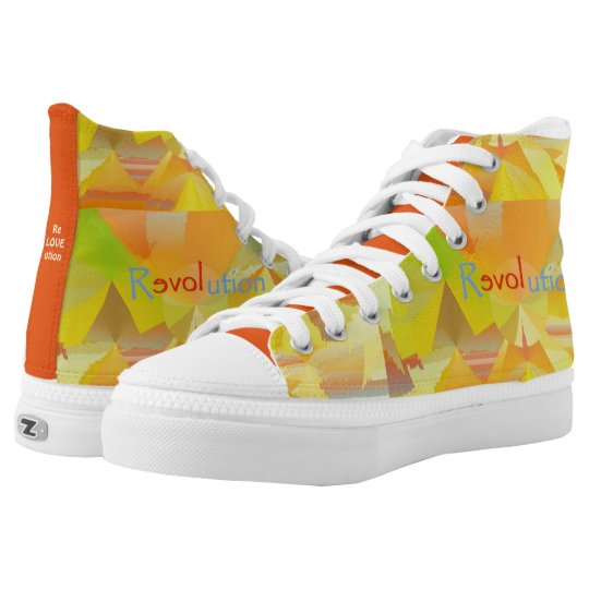 Zipz High Top Shoes ReLOVEution Abstract Design
