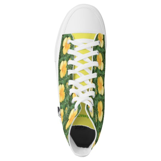 Zipz High Top Shoes Sweet Yellow Flower Photo