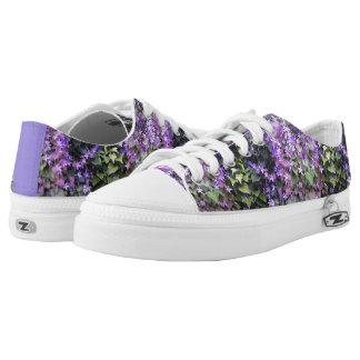 Zipz Low Top Shoes Mauve Hedge Flower Photo design Printed Shoes